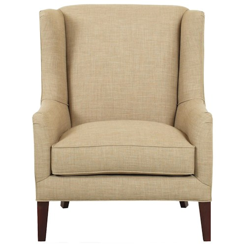 Klaussner Chairs and Accents Upholstered Quinn Chair with Wings and Exposed Wood Legs