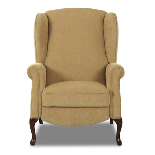 Klaussner High Leg Recliners Mahogany High Leg Reclining Chair