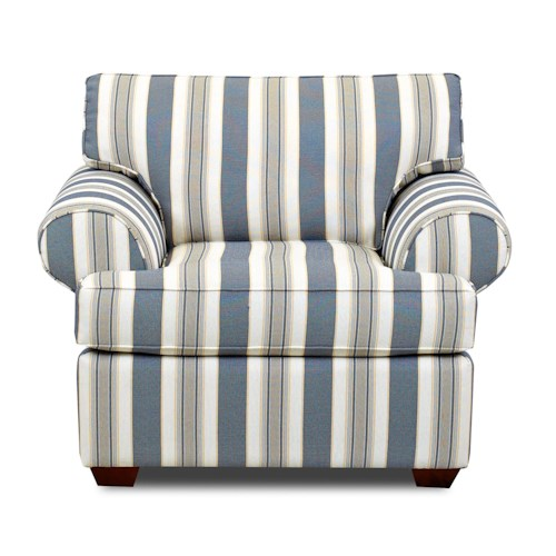 Klaussner Lady Upholstered Chair with Rolled Arms