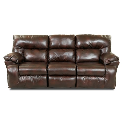 Klaussner Laramie Reclining Sofa with Drop-Down Table and Cupholders