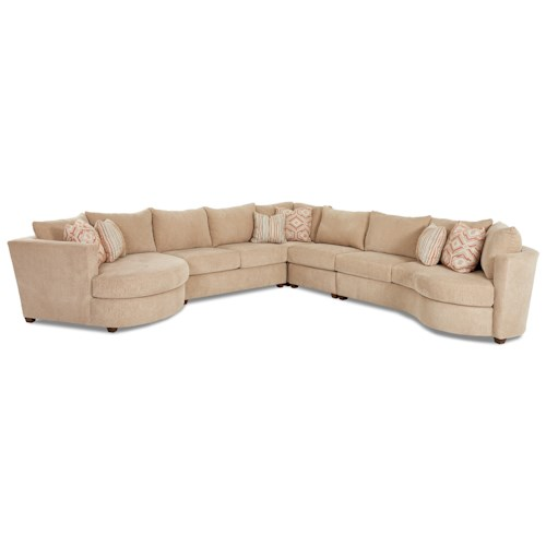 Klaussner LIA Contemporary 5 Piece Sectional with Left Arm Facing Cuddler