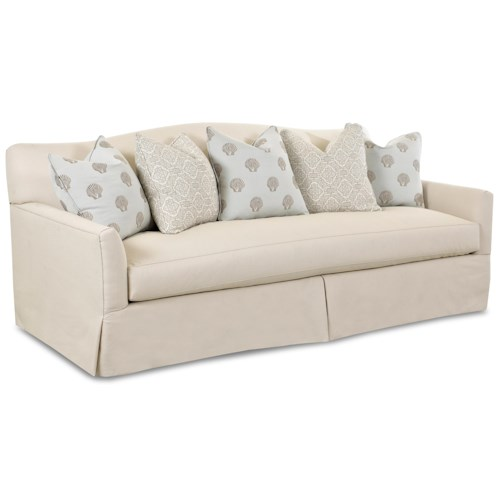 Klaussner Lindsey Transitional Sofa with Camel Back and Pillows
