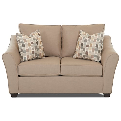 Klaussner Linville Contemporary Loveseat with Flared Arms