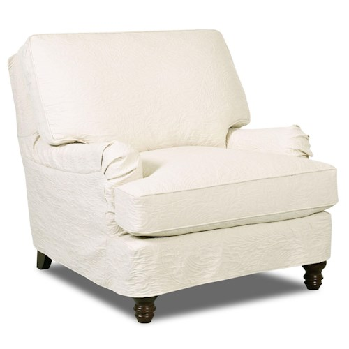 Elliston Place Loewy Traditional Stationary Chair with Slip Cover and Charles of London Arms
