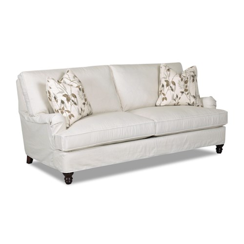 Elliston Place Loewy Traditional Stationary Sofa with Slip Cover and Charles of London Arms