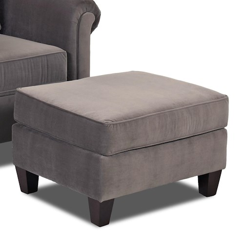 Klaussner Lopez Transitional Rectangular Chair Ottoman with Tapered Wood Feet