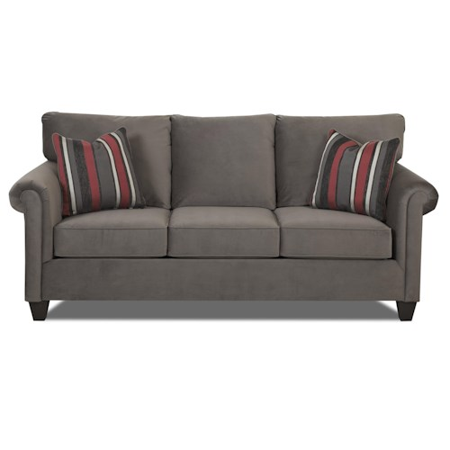 Klaussner Lopez Transitional Dreamquest Queen Sleeper Sofa with Rolled Arms and Tapered Wood Feet