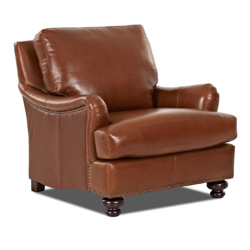 Klaussner Loxley Stationary Leather Match Chair
