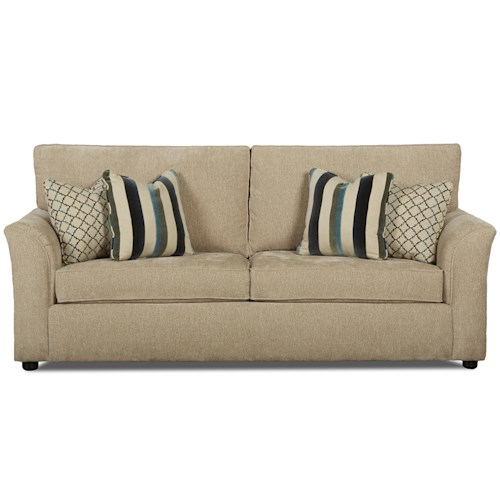 Klaussner Maya Casual Queen Air Coil Sleeper Sofa with Flare Tapered Arms