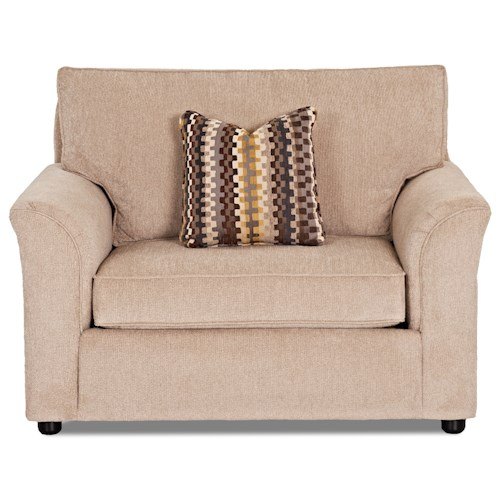 Elliston Place Maya Casual Chair and a Half with Flare Tapered Arms