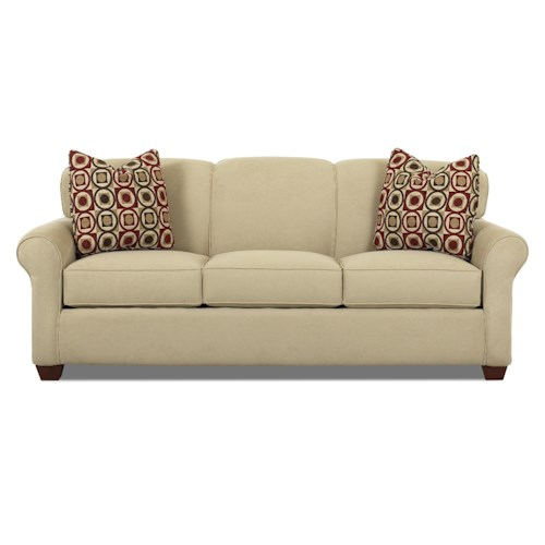 Klaussner Mayhew Stationary Sofa with Accent Pillows