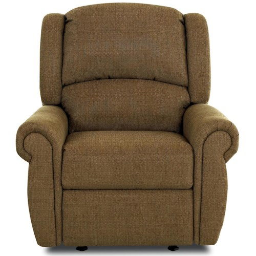 Klaussner McAlister Traditional Glider Recliner with Winged Pub Back and Rolled Arms