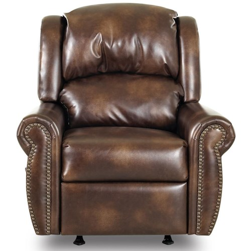 Klaussner McAlister Traditional Rocker Recliner with Winged Pub Back and Rolled Arms
