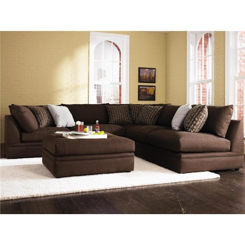 Klaussner Melrose Place Four Piece Sectional with Two Corner Chairs