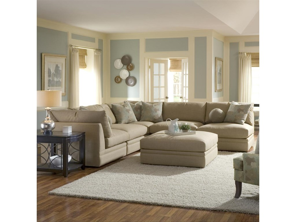 Shown in a Living Room with an Armless Chair and Love Seat as a Sectional