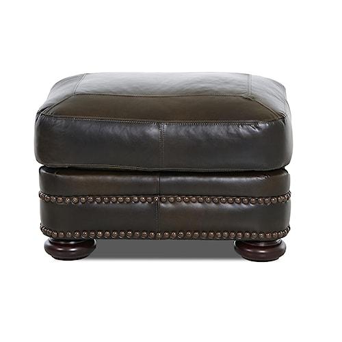 Elliston Place Montezuma Leather Ottoman with Bun Feet