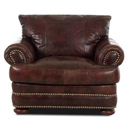 Klaussner Montezuma Leather Chair with Rolled Arms