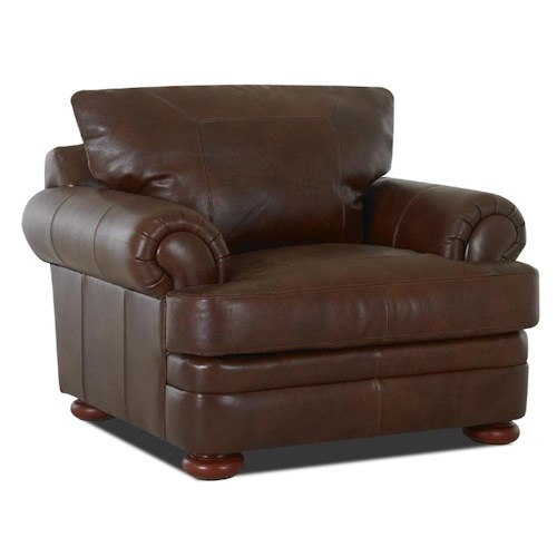 Elliston Place Montezuma Leather Chair with Rolled Arms