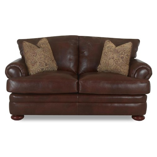 Klaussner Montezuma Leather Loveseat with Rolled Arms