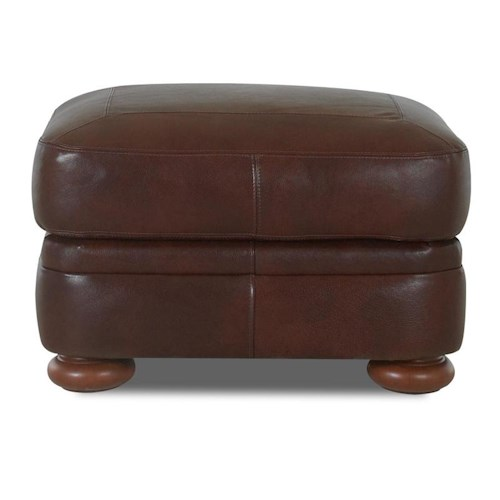 Elliston Place Montezuma Leather Ottoman with Bun Feet