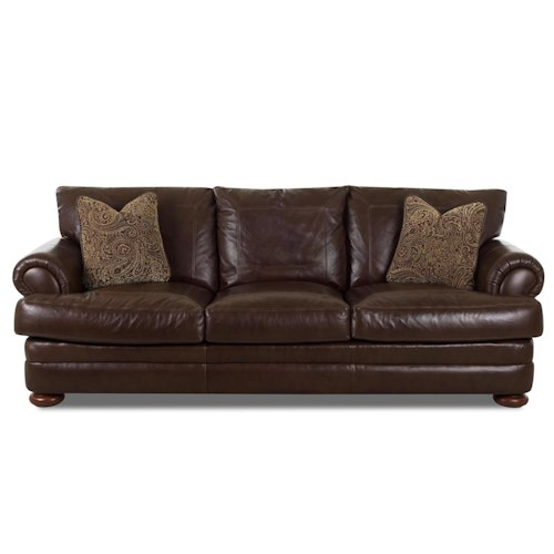 Elliston Place Montezuma Leather Sofa with Rolled Arms