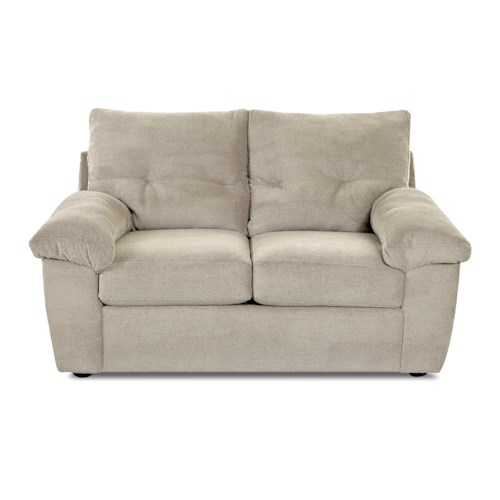 Elliston Place Newton Casual Loveseat with Pillow Arms and Tufting