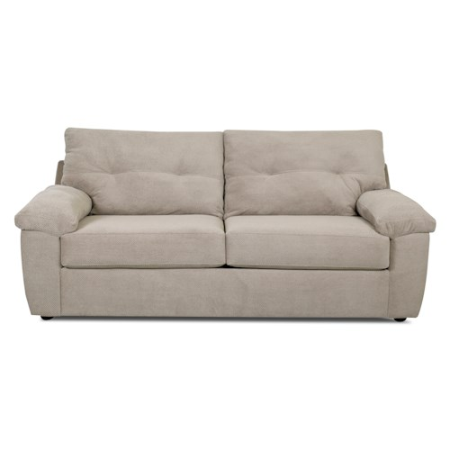 Elliston Place Newton Casual Stationary Sofa with Pillow Arms and Tufting