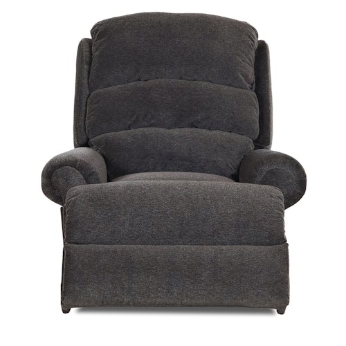 Klaussner Norman Transitional Swivel Rocking Reclining Chair with Rolled Arms and Split Back
