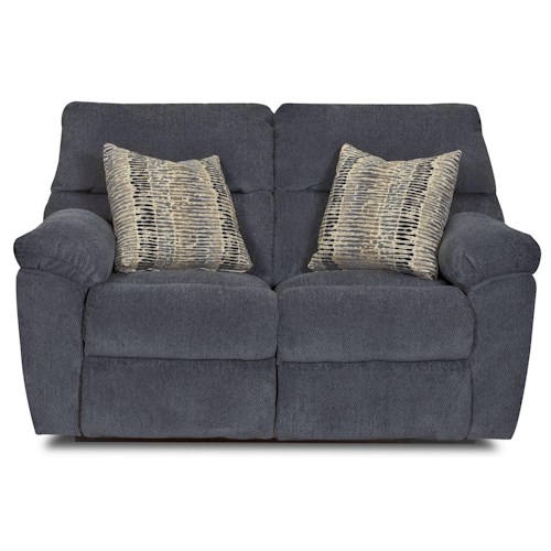 Klaussner Odessa Casual Reclining Loveseat with Plush Pillow Arms and Accent Pillows