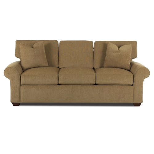 Elliston Place Patterns Innerspring Queen Sleeper Sofa with Rolled Arms and Wood Feet
