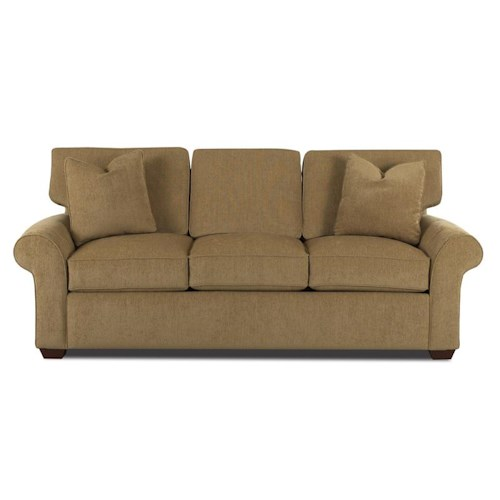 Elliston Place Patterns Sofa with Rolled Arms and Exposed Wood Feet