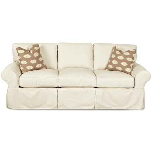 Klaussner Patterns Slipcovered Sofa with Rolled Arms and Tailored Skirt