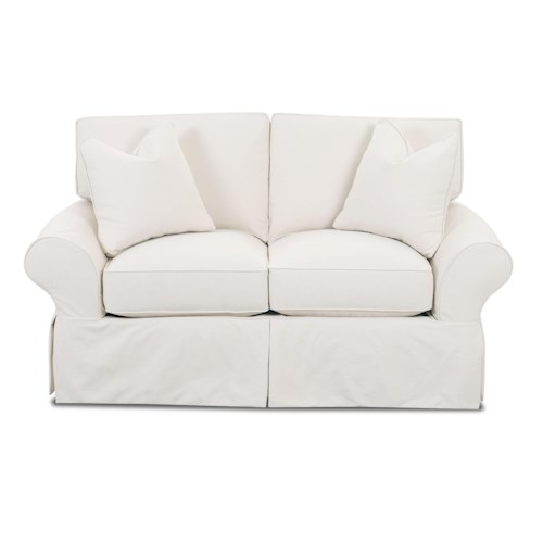 Elliston Place Patterns Slipcovered Loveseat with Rolled Arms and Tailored Skirt