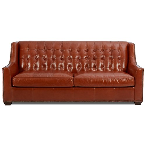 Elliston Place Pennington Transitional Leather Sofa with Button Tufting