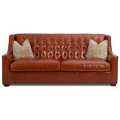 Klaussner Pennington Transitional Leather Sofa with Button Tufting and Fabric Pillows