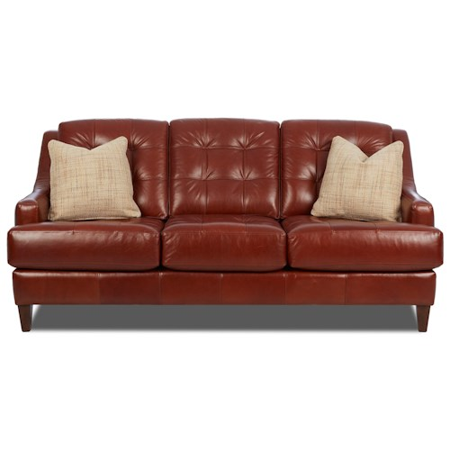 Elliston Place Pinson Contemporary Stationary Sofa with Tufted Back and Toss Pillows