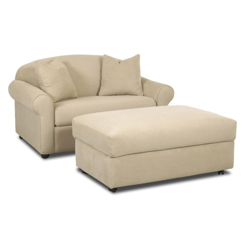 Klaussner Possibilities Chair Sleeper and Storage Ottoman Set