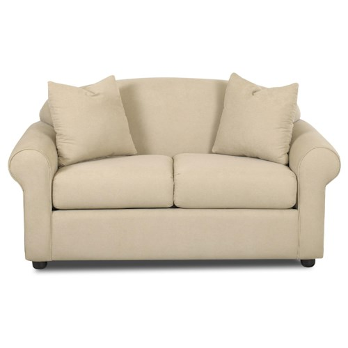 Klaussner Possibilities Low Profile Loveseat with Accent Pillows