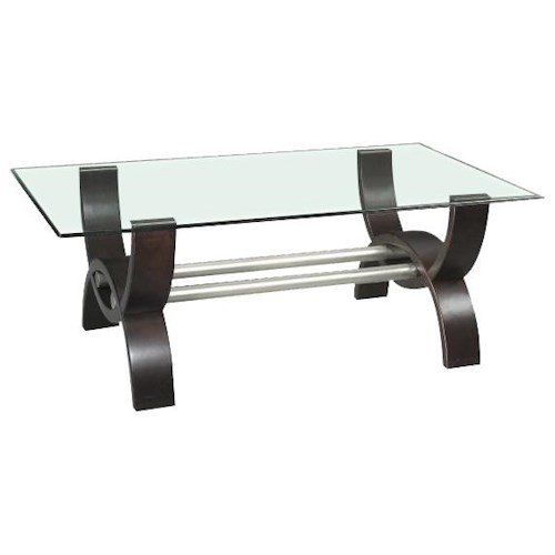 Morris Home Furnishings Quantam Glass Top Cocktail Table