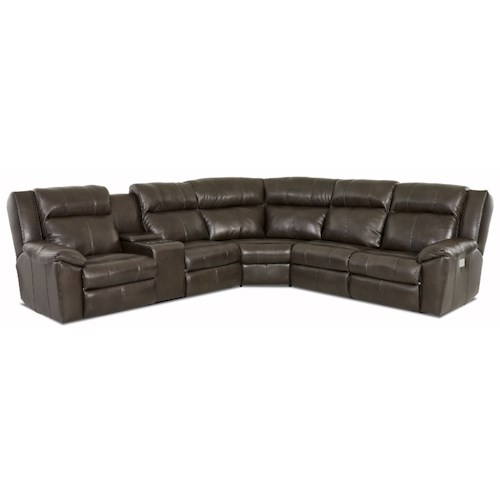 Elliston Place Ridley 3-Piece Reclining Sectional with LAF Console Loveseat and Power Headrest and Lumbar Support