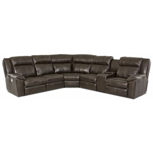 Elliston Place Ridley 3-Piece Reclining Sectional with Power Headrest and RAF Console Loveseat