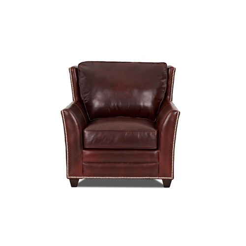 Elliston Place Roseboro  Leather Chair with Nailhead Trim