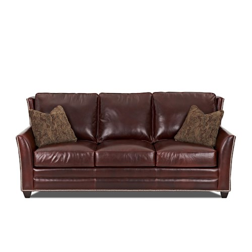 Elliston Place Roseboro  Leather Sofa with Nailhead Trim