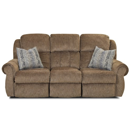 Elliston Place Rowling Casual Reclining Sofa with Table and Pillows