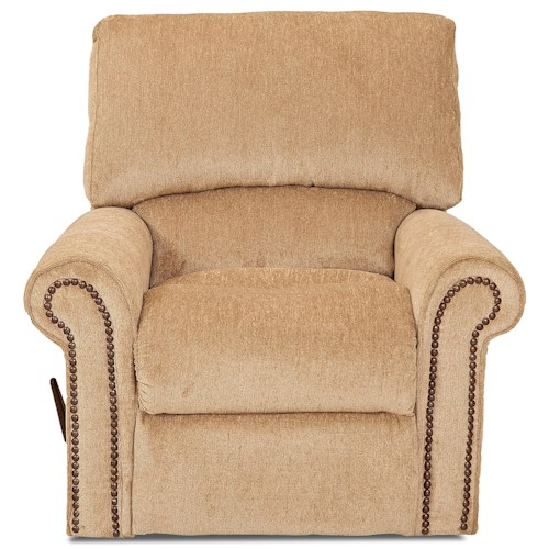 Elliston Place Savannah Reclining Chair with Rolled Arms and Nailheads