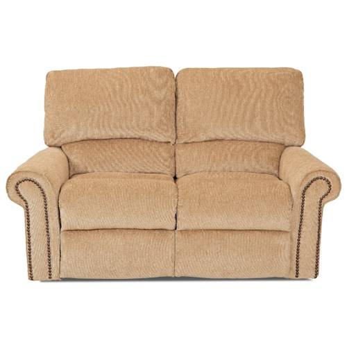 Elliston Place Savannah Power Reclining Loveseat with Rolled Arms and Nailheads