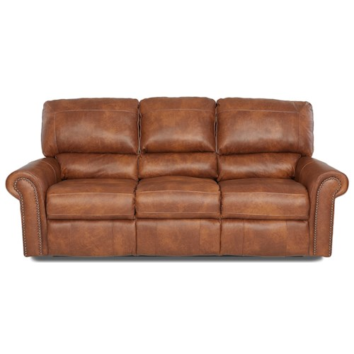 Elliston Place Savannah Reclining Sofa with Rolled Arms and Nailheads