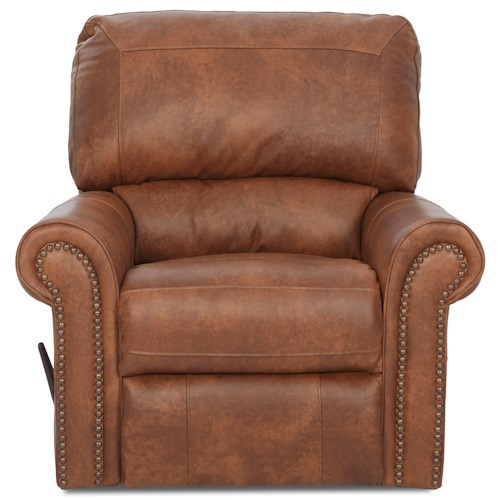 Elliston Place Savannah Swivel Rocker Recliner with Rolled Arms and Nailheads