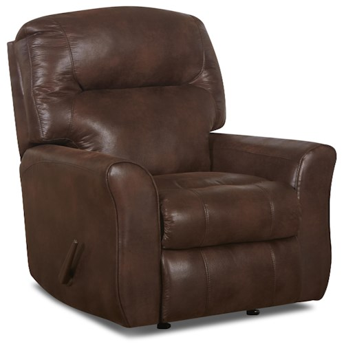 Elliston Place Schwartz Casual Leather Reclining Chair with Attached Back Pillows and Outside Handle Activation