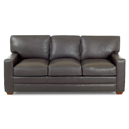 Elliston Place Selection Contemporary Three Seat Sofa with Track Arms